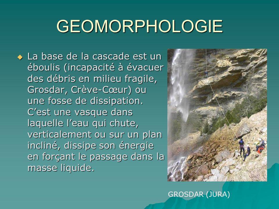 GEOMORPHOLOGIE La base de la cascade est un éboulis (incapacité à évacuer des débris en milieu fragile, Grosdar, Crève-Cœur) ou une fosse de dissipati