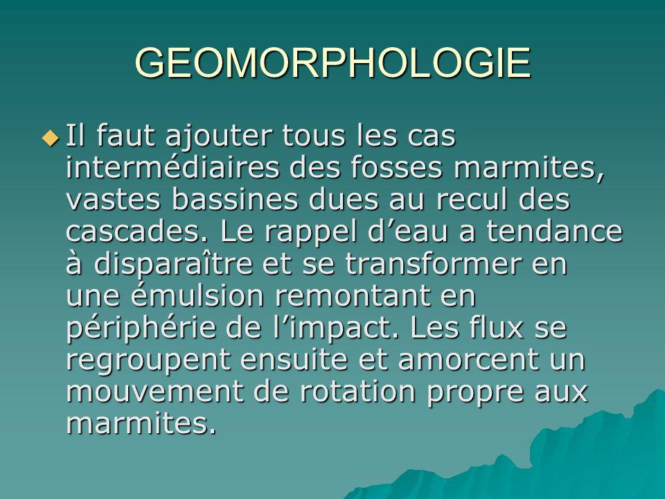 GEOMORPHOLOGIE Il faut ajouter tous les cas intermédiaires des fosses marmites, vastes bassines dues au recul des cascades. Le rappel deau a tendance