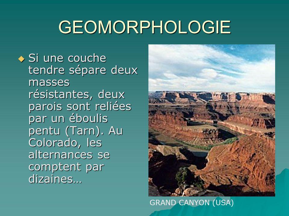 GEOMORPHOLOGIE Si une couche tendre sépare deux masses résistantes, deux parois sont reliées par un éboulis pentu (Tarn). Au Colorado, les alternances