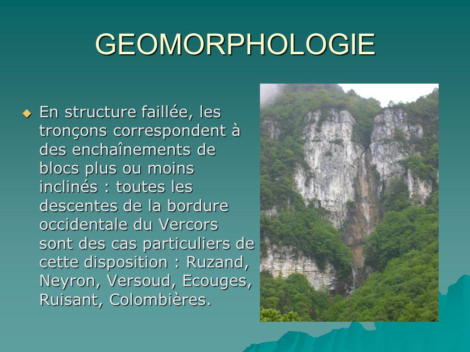 GEOMORPHOLOGIE En structure faillée, les tronçons correspondent à des enchaînements de blocs plus ou moins inclinés : toutes les descentes de la bordu
