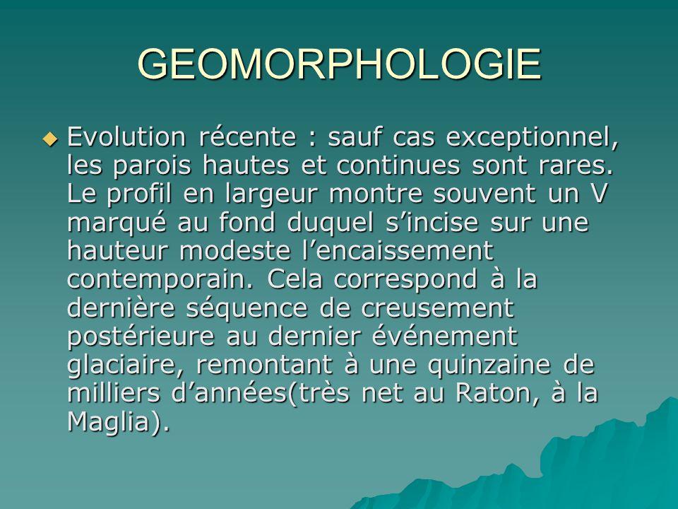 GEOMORPHOLOGIE Evolution récente : sauf cas exceptionnel, les parois hautes et continues sont rares. Le profil en largeur montre souvent un V marqué a