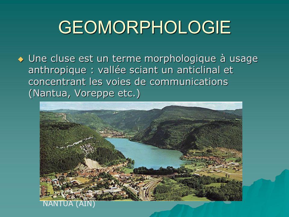 GEOMORPHOLOGIE Une cluse est un terme morphologique à usage anthropique : vallée sciant un anticlinal et concentrant les voies de communications (Nant