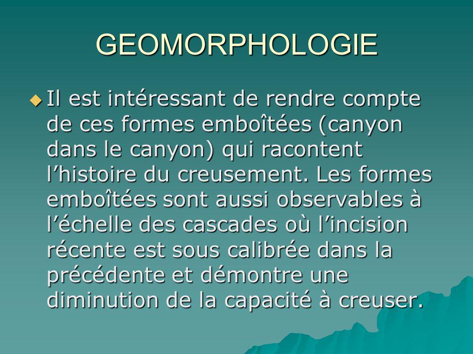GEOMORPHOLOGIE Il est intéressant de rendre compte de ces formes emboîtées (canyon dans le canyon) qui racontent lhistoire du creusement. Les formes e