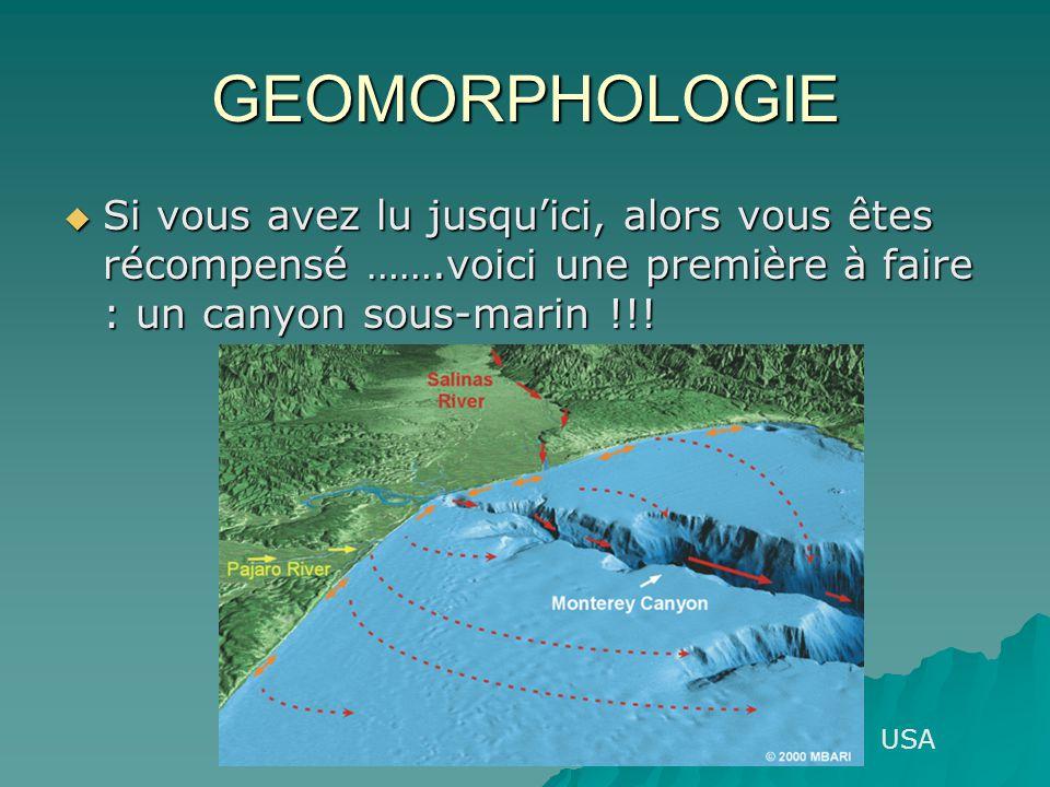 GEOMORPHOLOGIE Si vous avez lu jusquici, alors vous êtes récompensé …….voici une première à faire : un canyon sous-marin !!! Si vous avez lu jusquici,