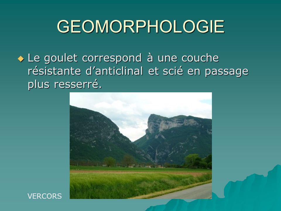 GEOMORPHOLOGIE Le goulet correspond à une couche résistante danticlinal et scié en passage plus resserré. Le goulet correspond à une couche résistante