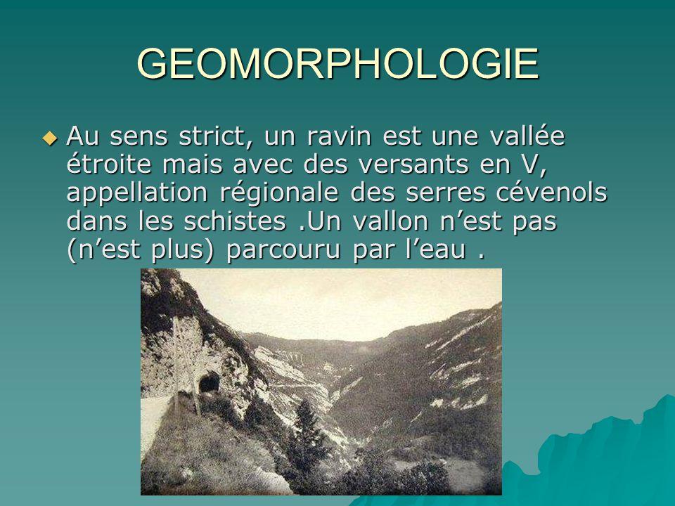 GEOMORPHOLOGIE Au sens strict, un ravin est une vallée étroite mais avec des versants en V, appellation régionale des serres cévenols dans les schiste