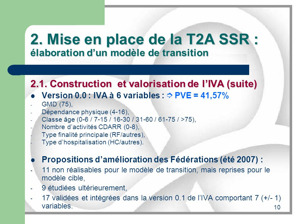 10 2. Mise en place de la T2A SSR : élaboration dun modèle de transition 2.1. Construction et valorisation de lIVA (suite) Version 0.0 : IVA à 6 varia