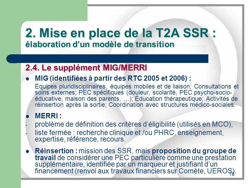 16 2. Mise en place de la T2A SSR : élaboration dun modèle de transition 2.4. Le supplément MIG/MERRI MIG (identifiées à partir des RTC 2005 et 2006)