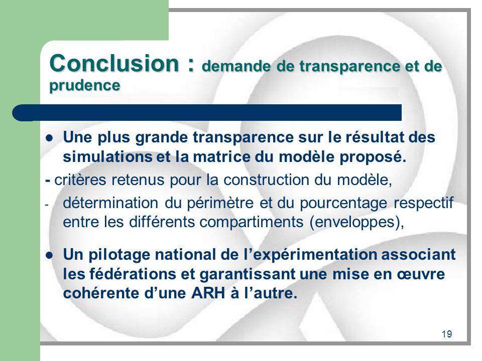 19 Conclusion : demande de transparence et de prudence Une plus grande transparence sur le résultat des simulations et la matrice du modèle proposé. -