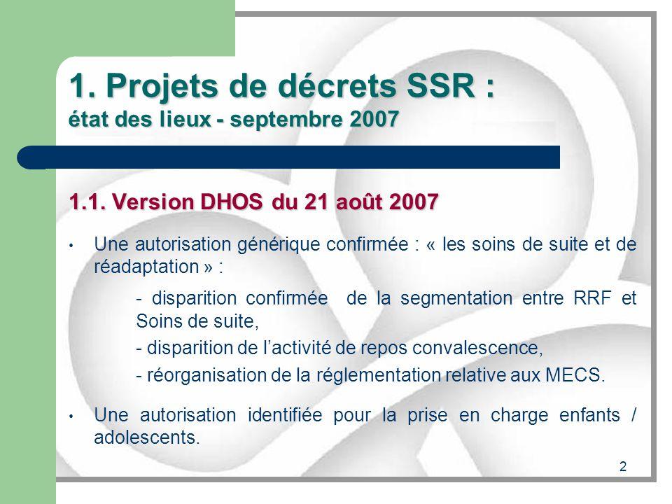 2 1. Projets de décrets SSR : état des lieux - septembre 2007 1.1. Version DHOS du 21 août 2007 Une autorisation générique confirmée : « les soins de