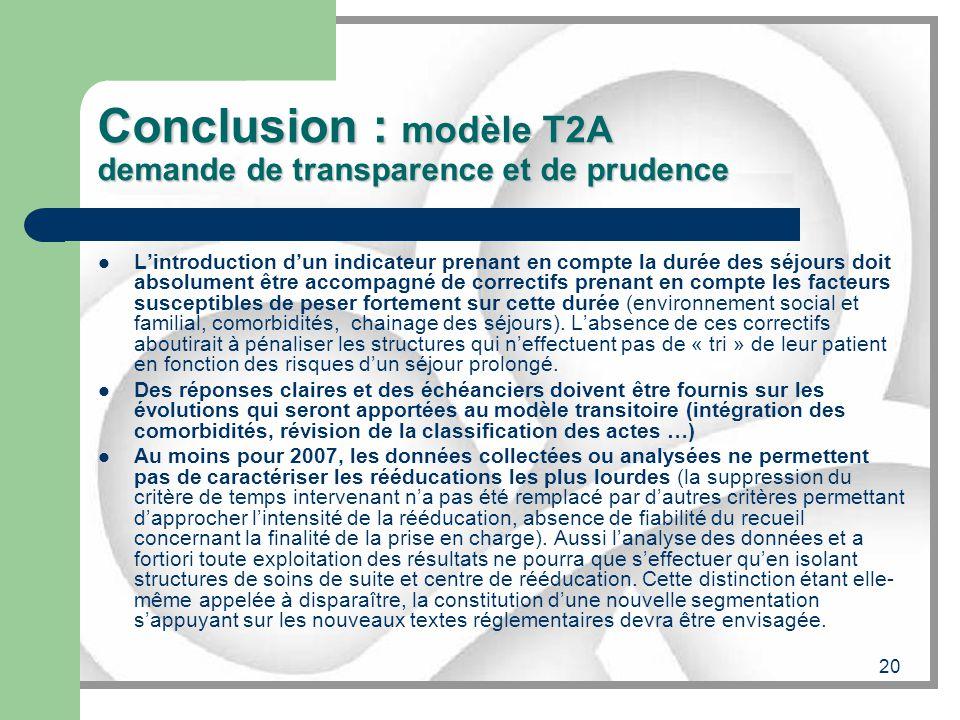20 Conclusion : modèle T2A demande de transparence et de prudence Lintroduction dun indicateur prenant en compte la durée des séjours doit absolument