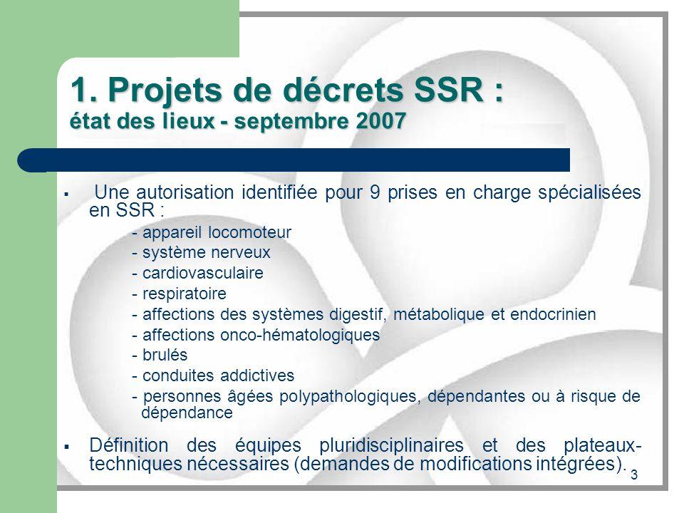 3 1. Projets de décrets SSR : état des lieux - septembre 2007 Une autorisation identifiée pour 9 prises en charge spécialisées en SSR : - appareil loc
