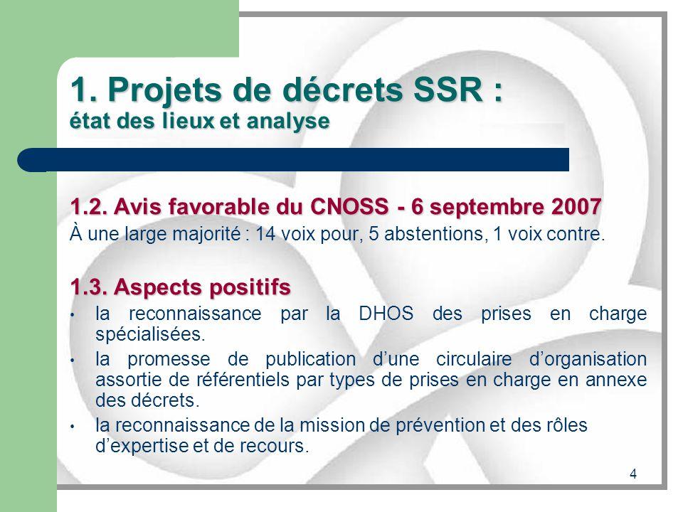 4 1. Projets de décrets SSR : état des lieux et analyse 1.2. Avis favorable du CNOSS - 6 septembre 2007 À une large majorité : 14 voix pour, 5 abstent
