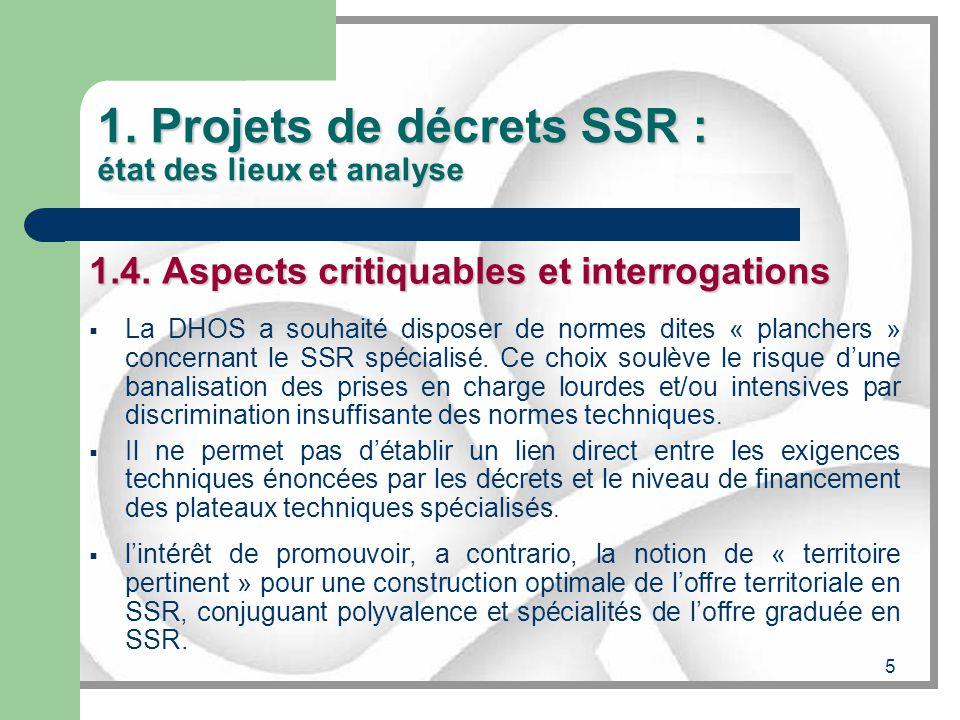 5 1. Projets de décrets SSR : état des lieux et analyse 1.4. Aspects critiquables et interrogations La DHOS a souhaité disposer de normes dites « plan
