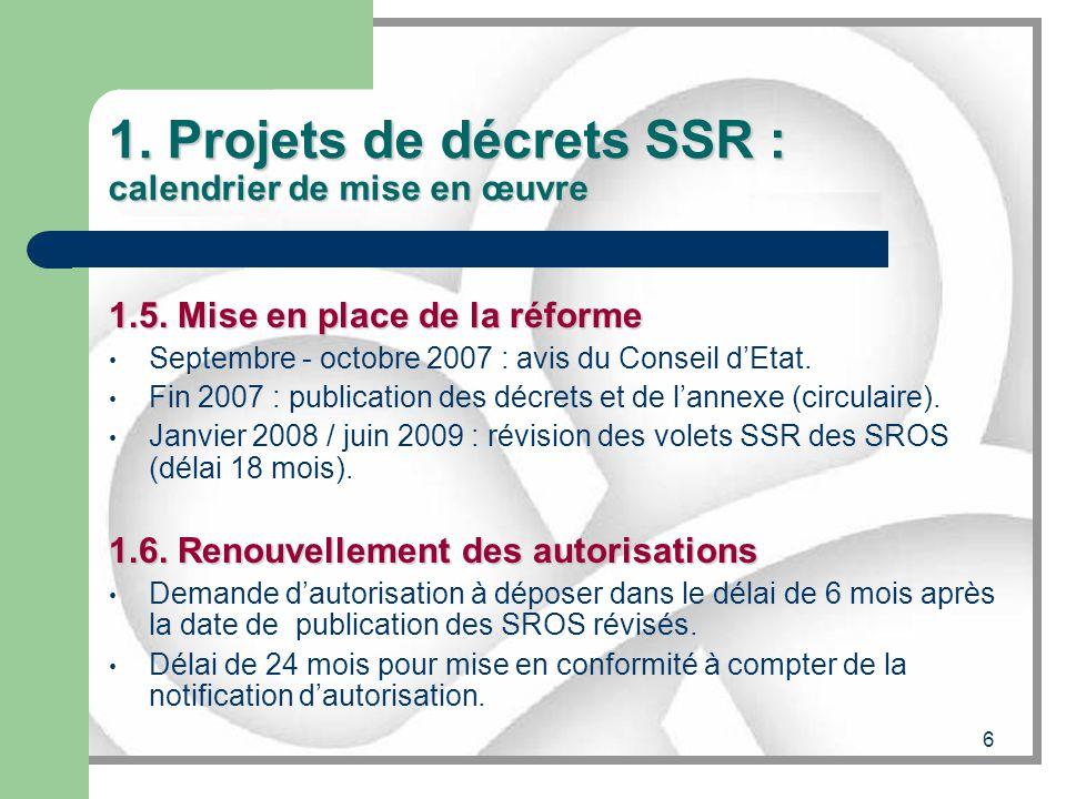 6 1. Projets de décrets SSR : calendrier de mise en œuvre 1.5. Mise en place de la réforme Septembre - octobre 2007 : avis du Conseil dEtat. Fin 2007
