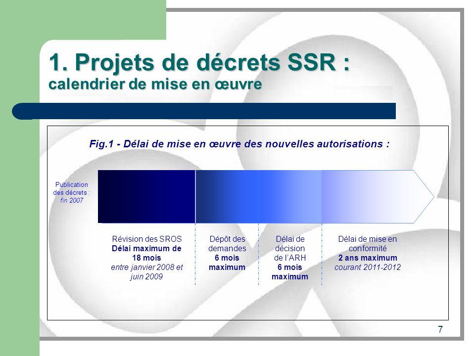 7 1. Projets de décrets SSR : calendrier de mise en œuvre Révision des SROS Délai maximum de 18 mois entre janvier 2008 et juin 2009 Dépôt des demande