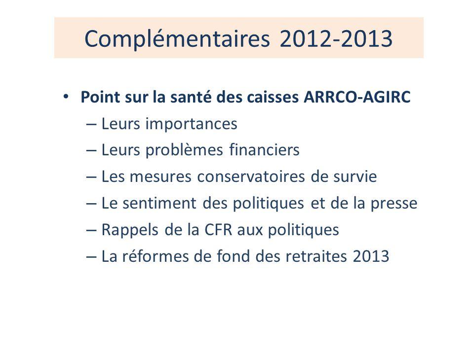 Complémentaires 2012-2013 Point sur la santé des caisses ARRCO-AGIRC – Leurs importances – Leurs problèmes financiers – Les mesures conservatoires de