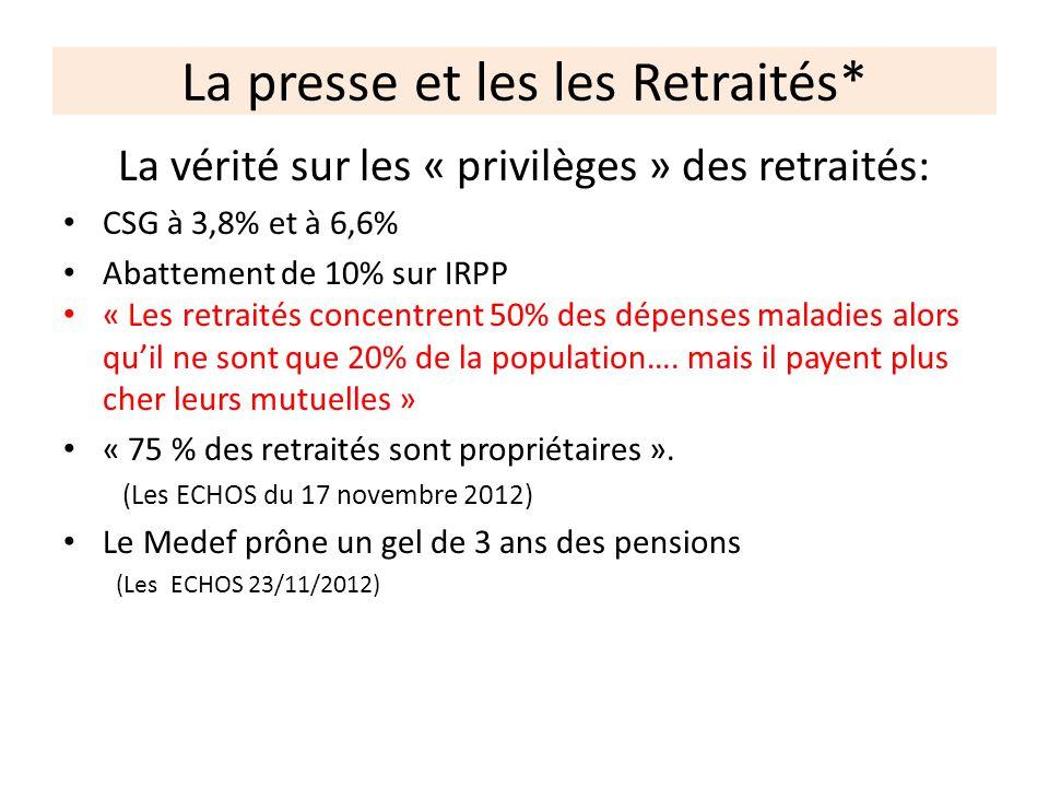 La presse et les les Retraités* La vérité sur les « privilèges » des retraités: CSG à 3,8% et à 6,6% Abattement de 10% sur IRPP « Les retraités concen