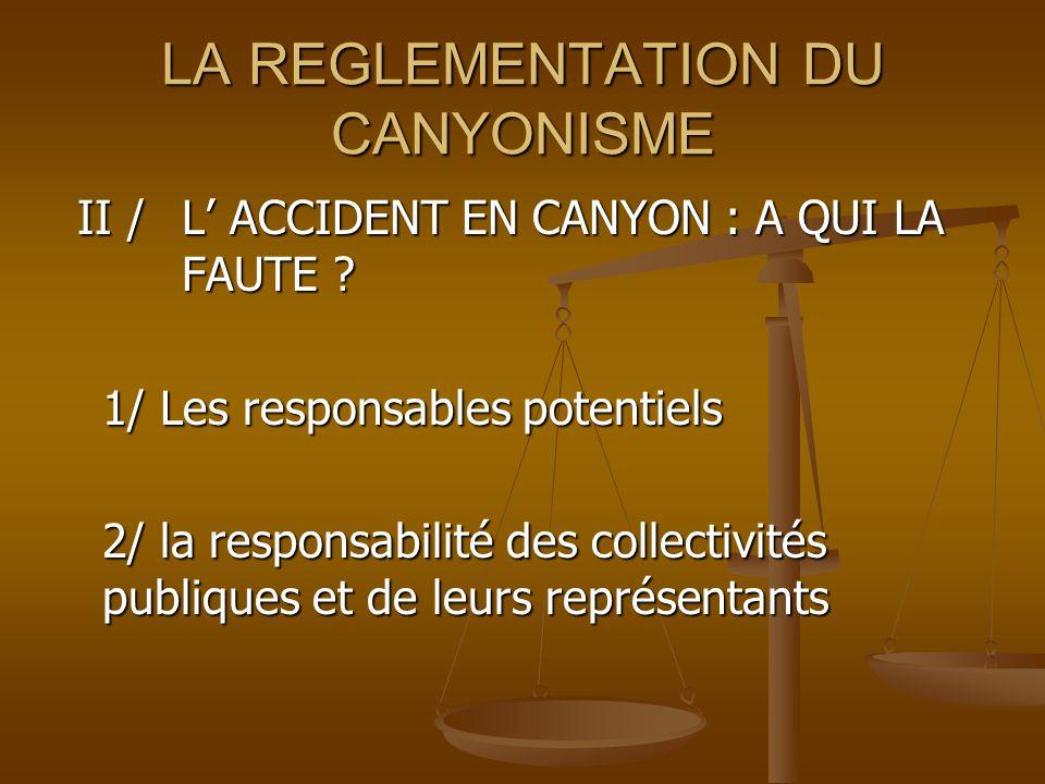 LA REGLEMENTATION DU CANYONISME II / L ACCIDENT EN CANYON : A QUI LA FAUTE .