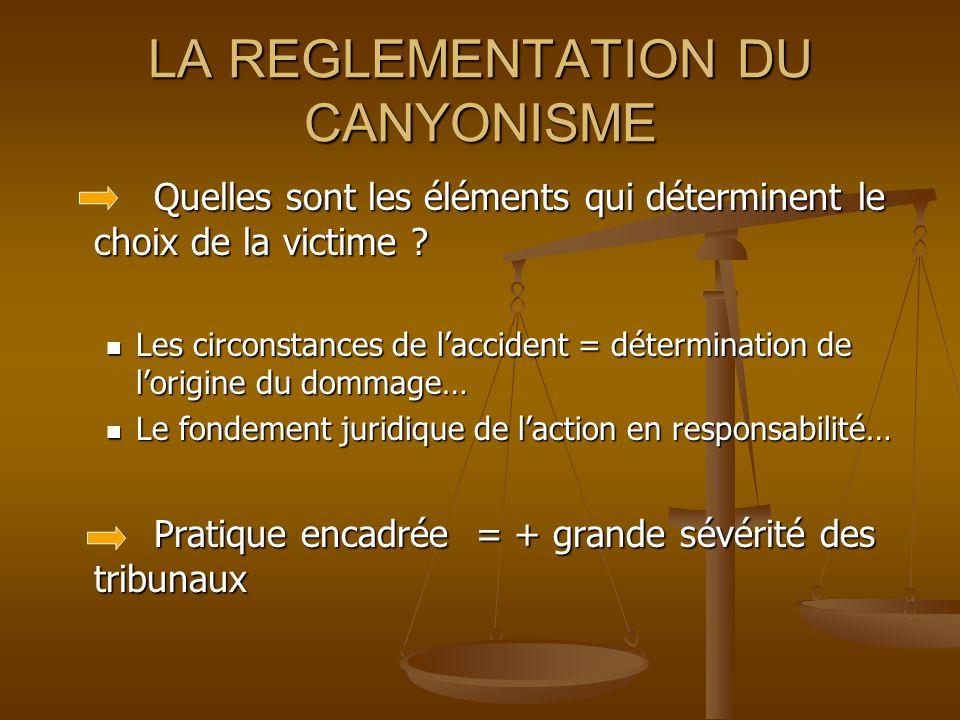 LA REGLEMENTATION DU CANYONISME Quelles sont les éléments qui déterminent le choix de la victime .