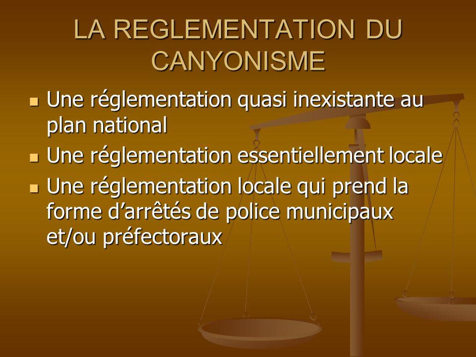 LA REGLEMENTATION DU CANYONISME 1.Faut-il réglementer la pratique du canyonisme .