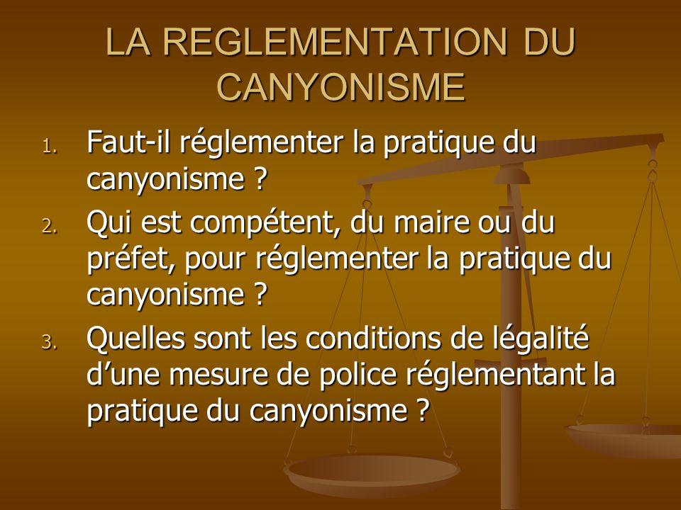 LA REGLEMENTATION DU CANYONISME 1. Faut-il réglementer la pratique du canyonisme .