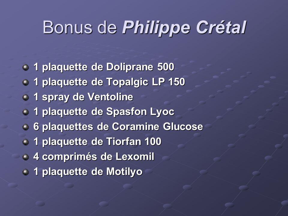 Bonus de Philippe Crétal 1 plaquette de Doliprane 500 1 plaquette de Topalgic LP 150 1 spray de Ventoline 1 plaquette de Spasfon Lyoc 6 plaquettes de Coramine Glucose 1 plaquette de Tiorfan 100 4 comprimés de Lexomil 1 plaquette de Motilyo