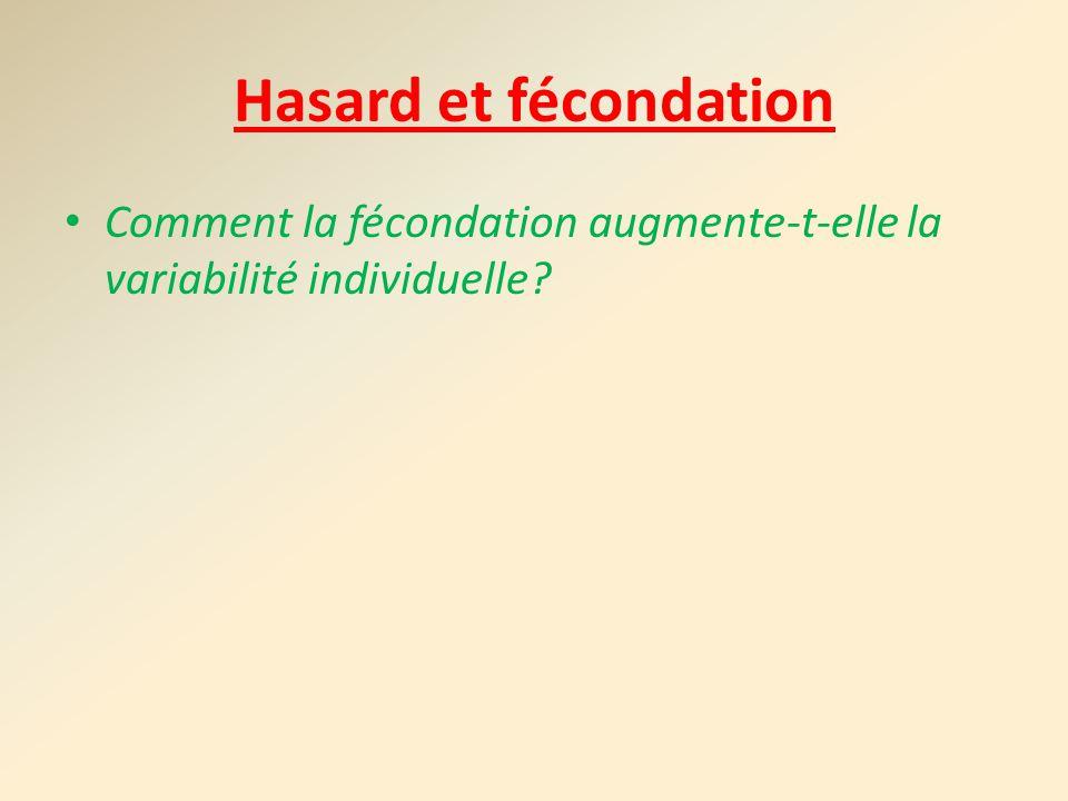 Hasard et fécondation Comment la fécondation augmente-t-elle la variabilité individuelle?