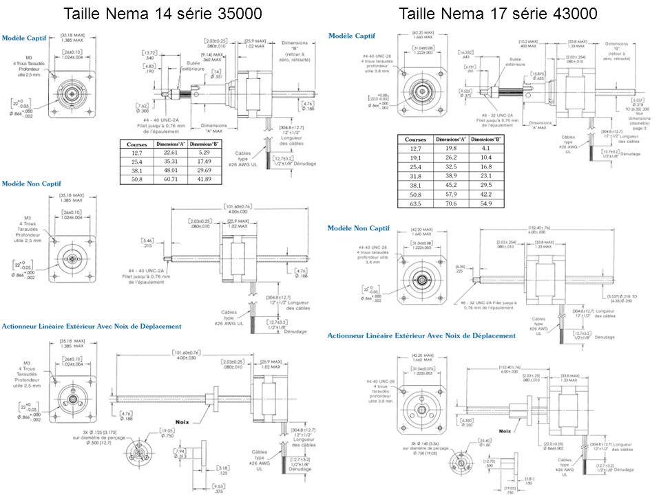 Taille Nema 14 série 35000Taille Nema 17 série 43000