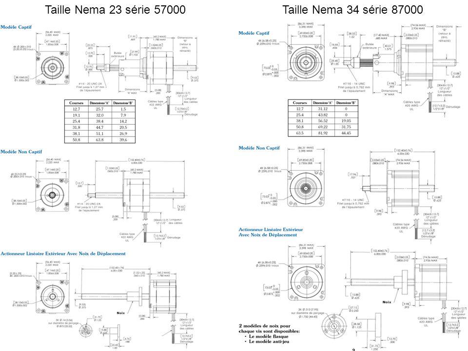 Taille Nema 23 série 57000Taille Nema 34 série 87000