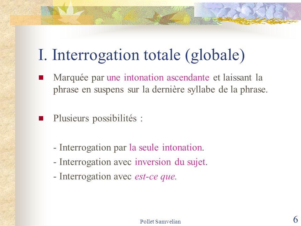 Pollet Samvelian 7 I.Interrogation totale (globale) a.