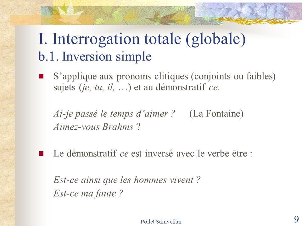 Pollet Samvelian 10 I.Interrogation totale (globale) b.2.