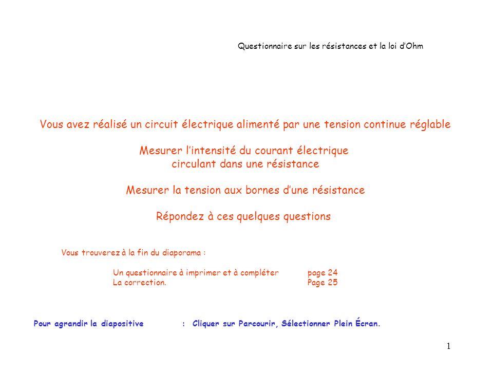 22 O I (en mA) U (en V) 4 Question n° 19 : La caractéristique dune résistance R est donnée ci-dessous : Si lintensité du courant électrique qui traverse cette résistance est égale à 60 mA.