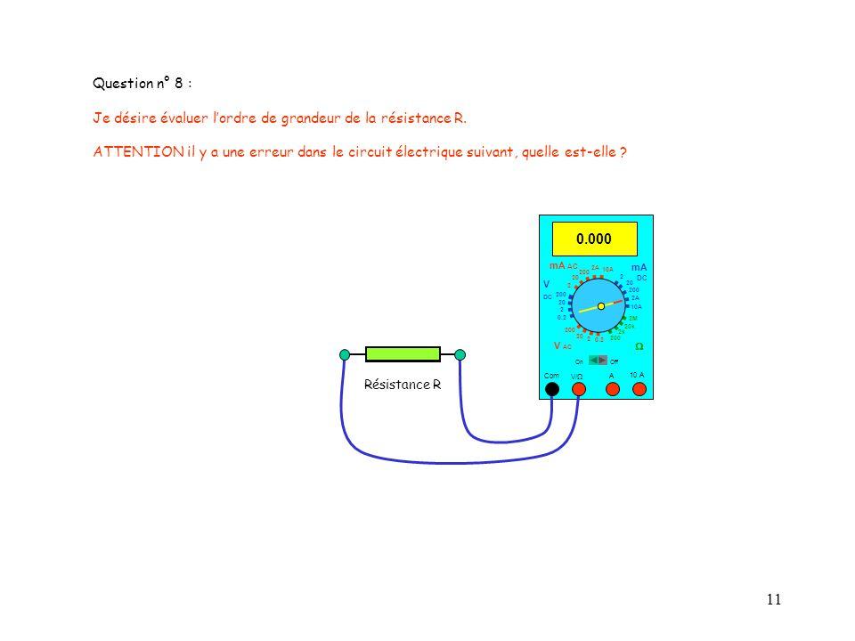 11 Question n° 8 : Je désire évaluer lordre de grandeur de la résistance R. ATTENTION il y a une erreur dans le circuit électrique suivant, quelle est