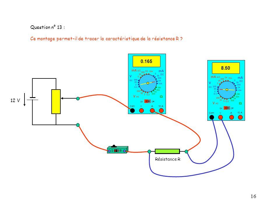 16 10 10 A 8.50 Com mA DC A OffOn 10A 2A 200 20 V 2 V AC mA AC V DC 2M 20k 2k 200 0.2 2 200 20 2 0.2 2 20 200 10A 2A 200 20 Résistance R 0.165 Com mA