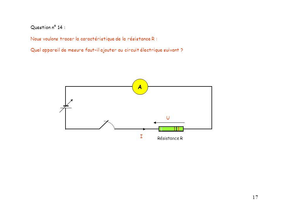 17 Résistance R I U Question n° 14 : Nous voulons tracer la caractéristique de la résistance R : Quel appareil de mesure faut-il ajouter au circuit él