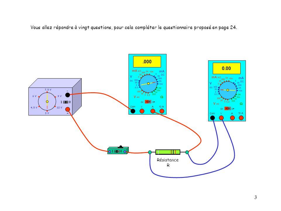 14 10 4,5 V12 V 3 V 9 V6 V 7,5 V + - Résistance R 0.023 Com mA DC A OffOn 10A 2A 200 20 V 2 V AC mA AC V DC 2M 20k 2k 200 0.2 2 200 20 2 0.2 2 20 200 10A 2A 200 20 10 A 10 Question n° 11 : La valeur indiquée par lampèremètre est-elle lintensité du courant électrique qui traverse la résistance R ?