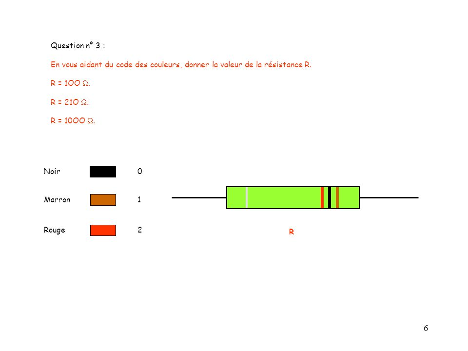 6 Question n° 3 : En vous aidant du code des couleurs, donner la valeur de la résistance R. R = 1OO. R = 21O. R = 10OO. Noir0 Rouge2 Marron1 R