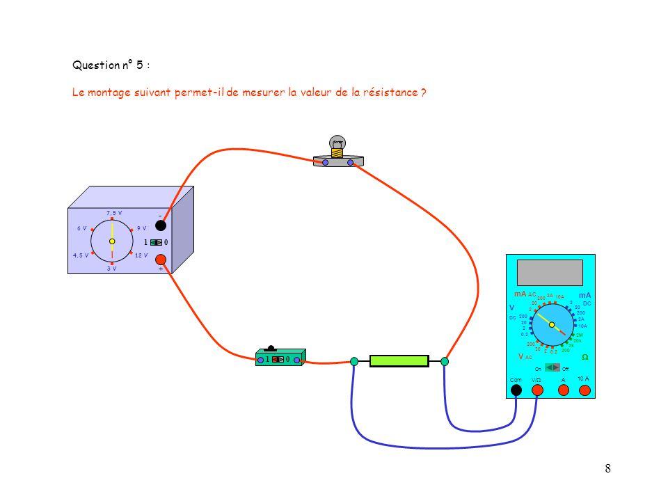 9 4,5 V12 V 3 V 9 V6 V 7,5 V + - 10 10 10 A 0.125 Com mA DC A OffOn 10A 2A 200 20 V 2 V AC mA AC V DC 2M 20k 2k 200 0.2 2 200 20 2 0.2 2 20 200 10A 2A 200 20 Résistance R Question n° 6 : Sans la résistance R, lintensité du courant électrique serait-elle supérieure à 125 mA ?