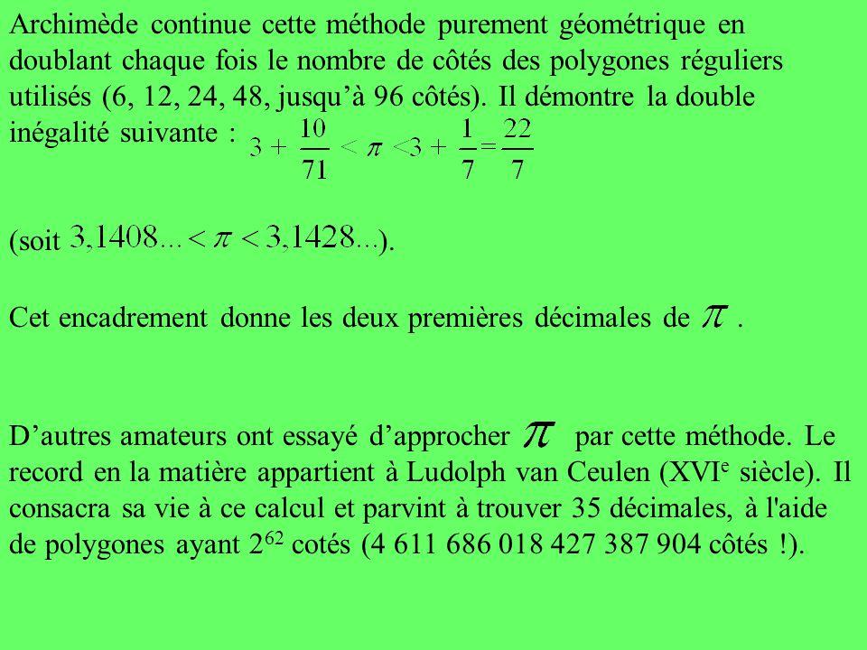 Archimède continue cette méthode purement géométrique en doublant chaque fois le nombre de côtés des polygones réguliers utilisés (6, 12, 24, 48, jusq