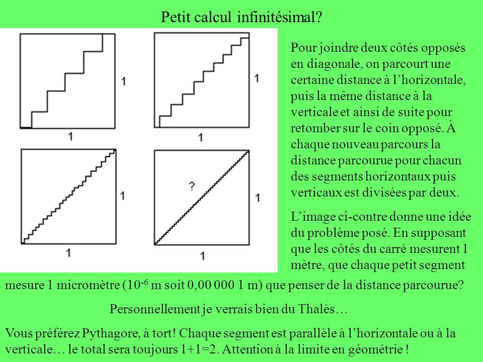 Petit calcul infinitésimal? Pour joindre deux côtés opposés en diagonale, on parcourt une certaine distance à lhorizontale, puis la même distance à la