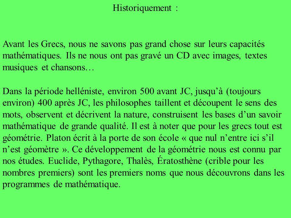 Historiquement : Avant les Grecs, nous ne savons pas grand chose sur leurs capacités mathématiques. Ils ne nous ont pas gravé un CD avec images, texte