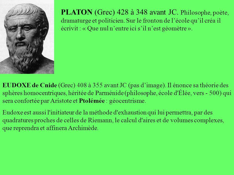 PLATON (Grec) 428 à 348 avant JC. Philosophe, poète, dramaturge et politicien. Sur le fronton de lécole quil créa il écrivit : « Que nul nentre ici si