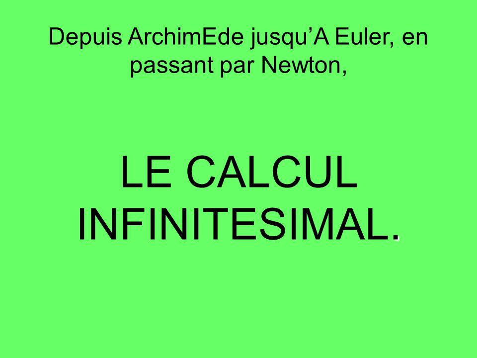 Quelques définitions : Calcul infinitésimal : Ensemble de notations et des méthodes fondamentales du calcul différentiel, du calcul intégral et du calcul des variations fondée sur l étude des infiniment petits et des limites, tel quil a été mis au point aux XVII e et XVIII e siècles.