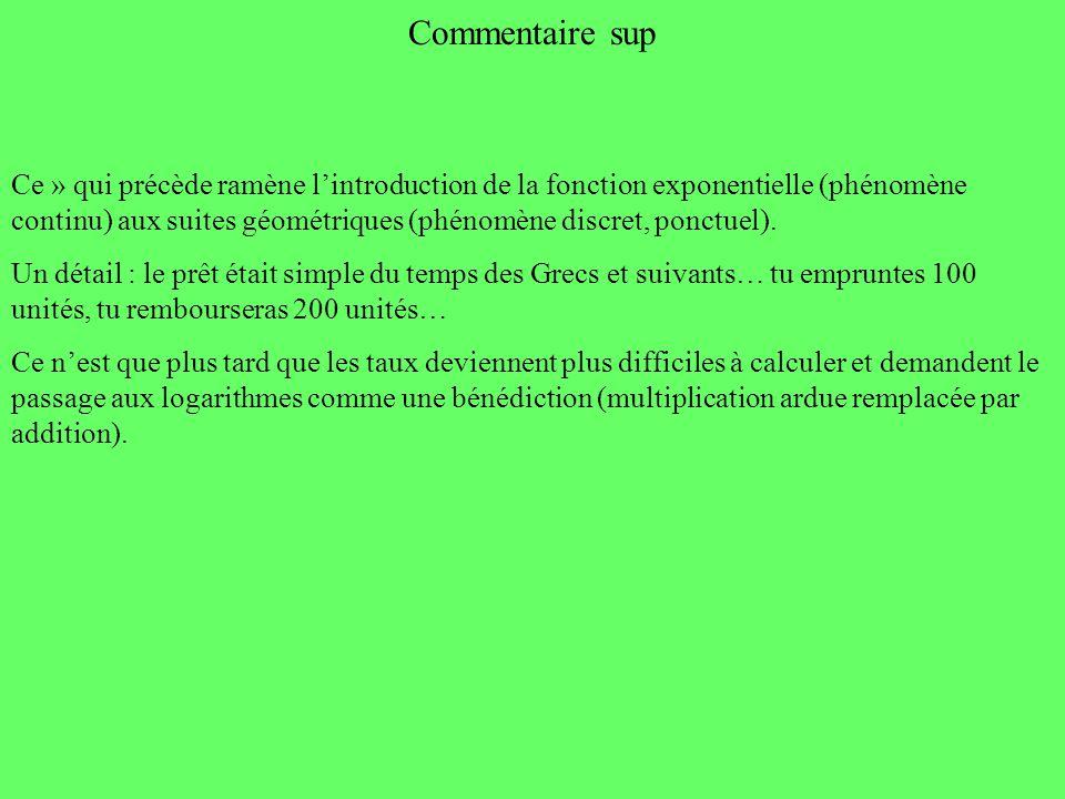Commentaire sup Ce » qui précède ramène lintroduction de la fonction exponentielle (phénomène continu) aux suites géométriques (phénomène discret, pon