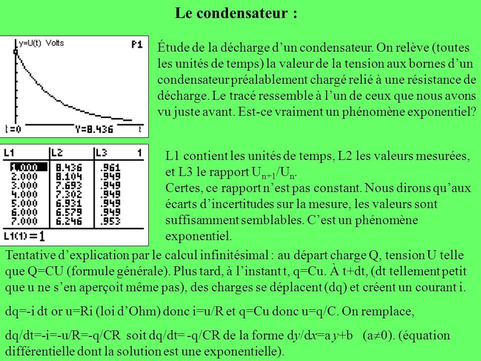 Le condensateur : Étude de la décharge dun condensateur. On relève (toutes les unités de temps) la valeur de la tension aux bornes dun condensateur pr