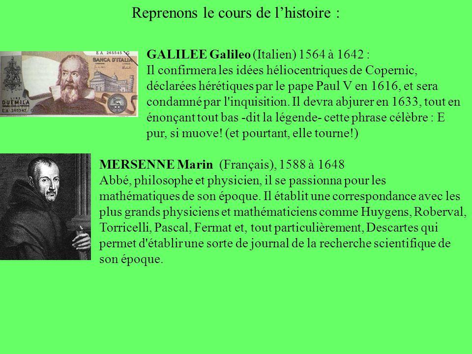 Reprenons le cours de lhistoire : GALILEE Galileo (Italien) 1564 à 1642 : Il confirmera les idées héliocentriques de Copernic, déclarées hérétiques pa