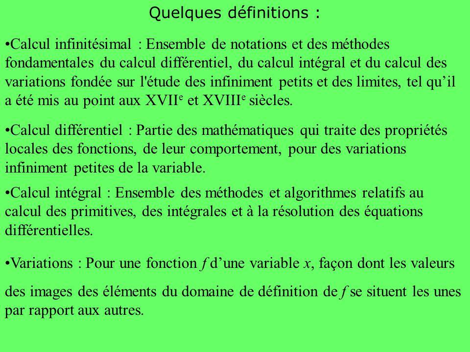 Quelques définitions : Calcul infinitésimal : Ensemble de notations et des méthodes fondamentales du calcul différentiel, du calcul intégral et du cal