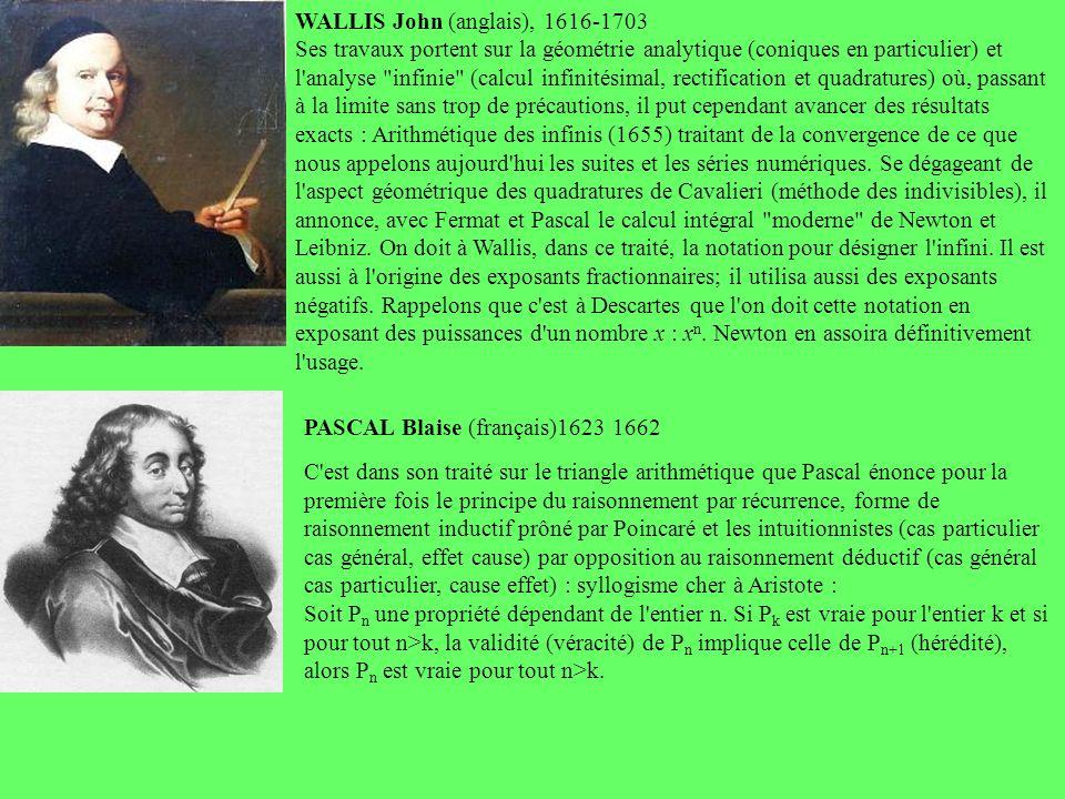 WALLIS John (anglais), 1616-1703 Ses travaux portent sur la géométrie analytique (coniques en particulier) et l'analyse