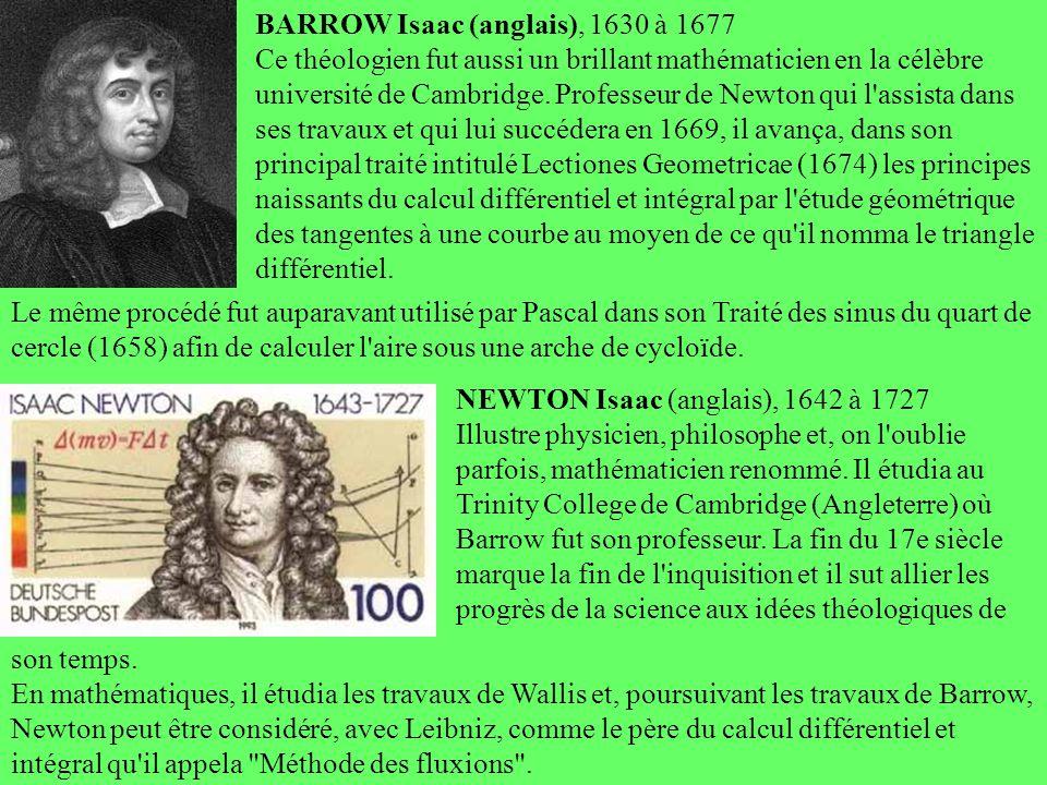 BARROW Isaac (anglais), 1630 à 1677 Ce théologien fut aussi un brillant mathématicien en la célèbre université de Cambridge. Professeur de Newton qui